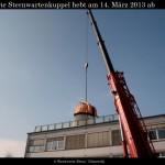 Die Sternwartenkuppel schwebt vom Dach