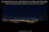 Nachtleuchtende Wolken über Riesa am Abend des 3.7.2014