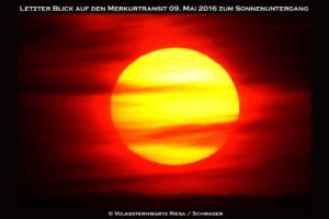 Letzeter Blick auf den Merkurtransit bei Sonnenuntergang