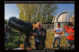 Ehemaliger Sternwartenleitee besucht die Sternwarte Riesa zum Merkurtransit