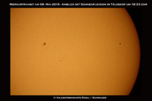 Merkur mit Sonnenflecken
