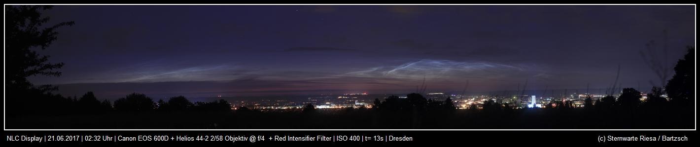 Nachtleuchtenede Wolken konnten am 21. Juni Richtung Norden beobachtet werden.