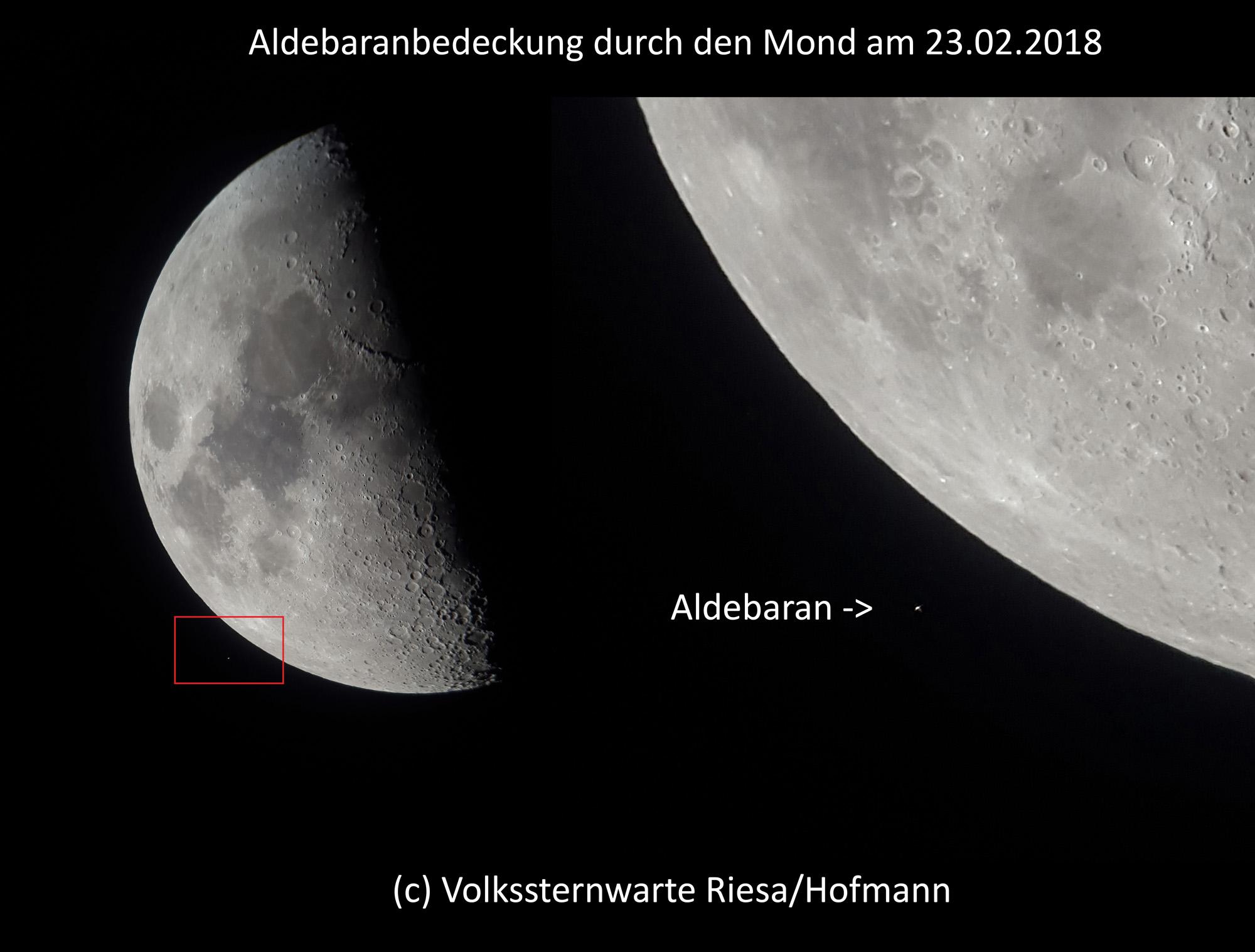 Aldebaranbedeckung durch den Mond.